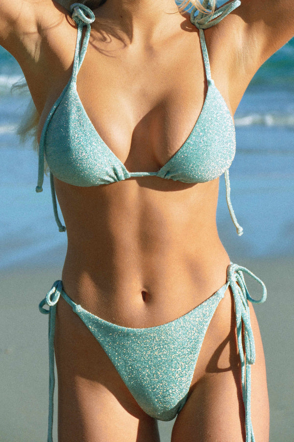 BIKINI DOLLS Diana triangle bikini top in mint lurex