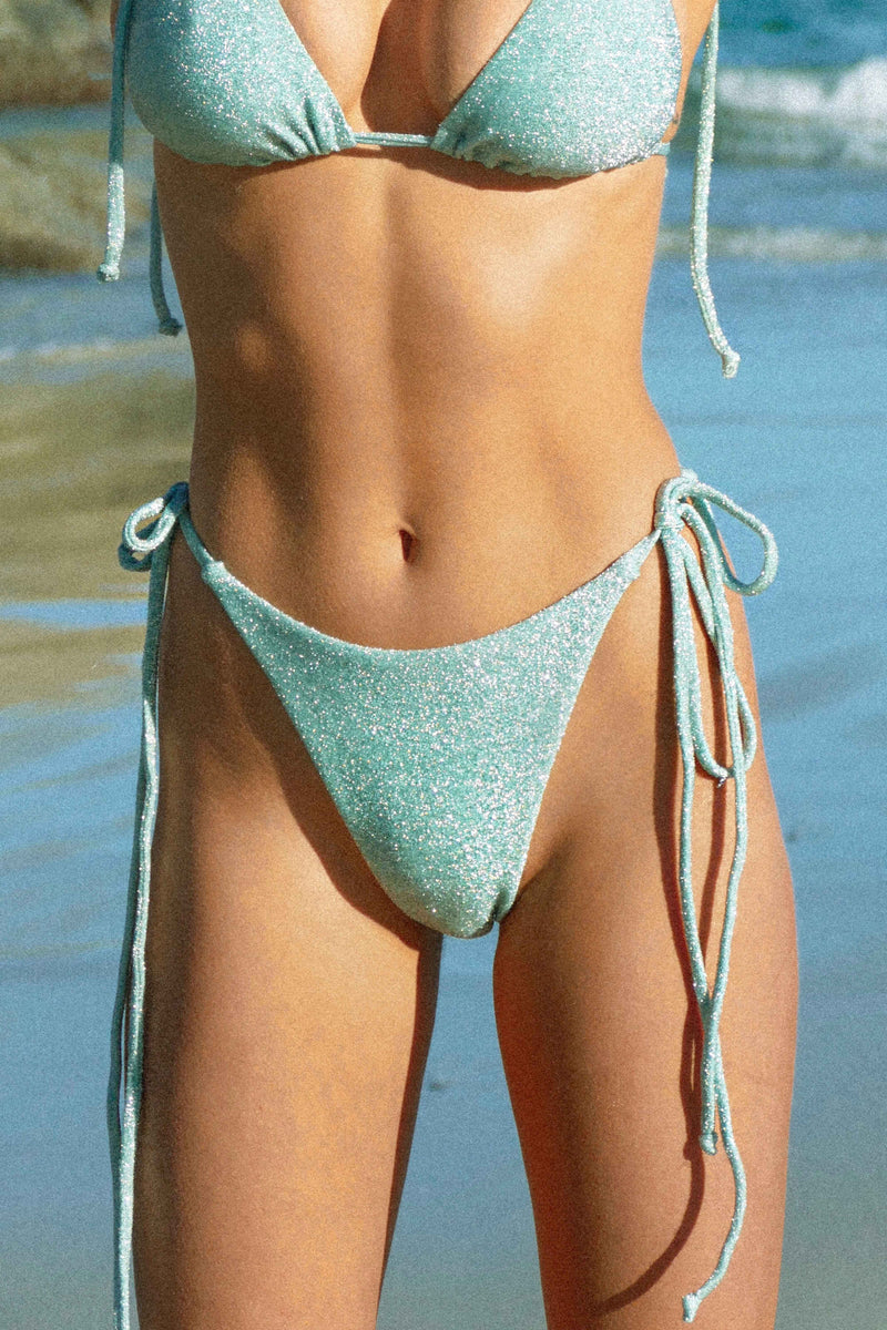 BIKINI DOLLS Diana tie side bikini bottom in mint lurex