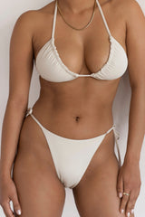 BIKINI DOLLS Gia side tie high-cut bikini bottom in Ivory off white