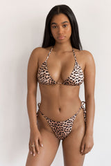 BIKINI DOLLS Gia minimal triangle bikini top in Just Leopard animal print