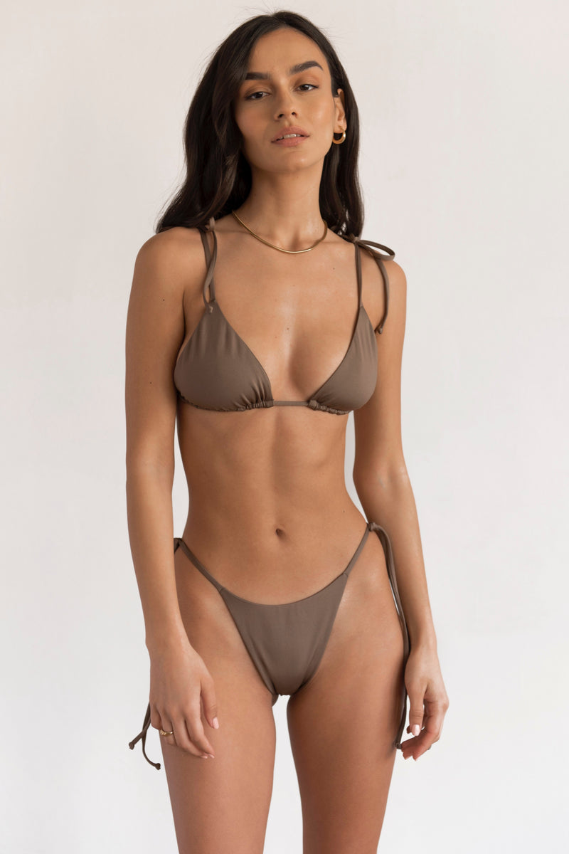 BIKINI DOLLS Gia side tie high-cut bikini bottom in Mocha medium brown