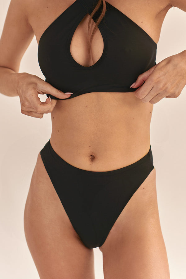 BIKINI DOLLS Gloria high-waist bikini bottom in Black
