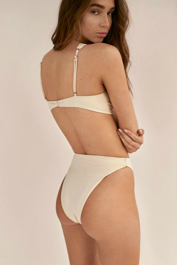 BIKINI DOLLS Gloria high-waist bikini bottom in Ivory off white