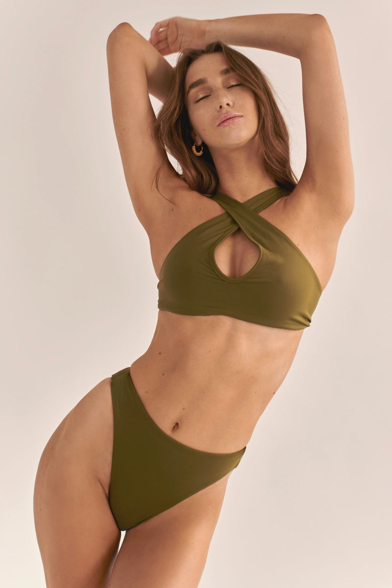 BIKINI DOLLS Gloria high-waist bikini bottom in Olive khaki green