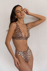 BIKINI DOLLS Sade bralette bikini top in Just Leopard animal print