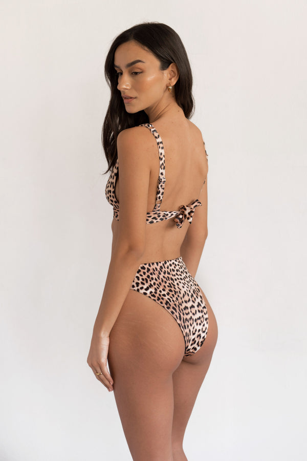 BIKINI DOLLS Sade high-waist bikini bottom in Just Leopard animal print