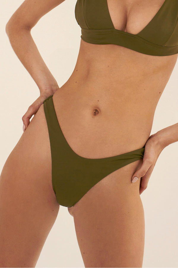 BIKINI DOLLS Naomi high-cut bikini bottom in Olive khaki green