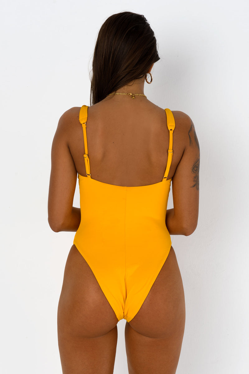 BIKINI DOLLS Twisted One Piece Sunflower Yellow Back