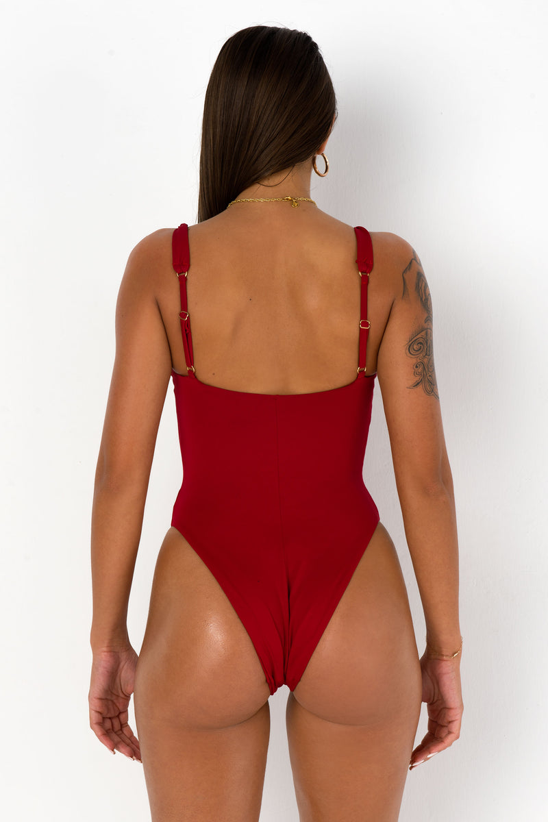 BIKINI DOLLS Twisted One Piece Wine Red Back