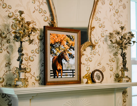 Vintage Equestrian Fireplace Styling