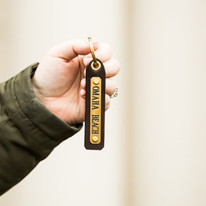 Omaha Beach Leather Key Chain