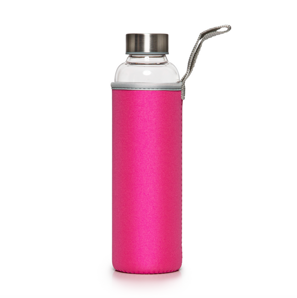 Recyclable Glass Drinking Bottle with Pink Protection Sleeve - 550ml