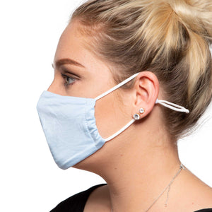 Light Blue Cotton Face Mask - Reusable/Washable - Wholesale Box