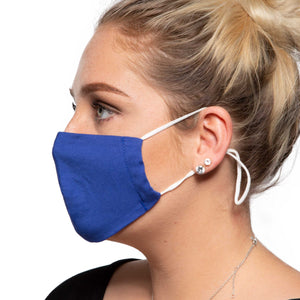 Blue Cotton Face Mask - Reusable/Washable - Wholesale Box