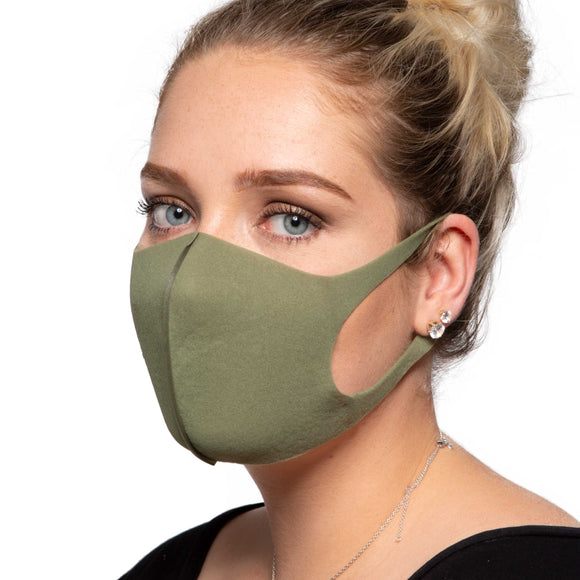 Olive Green Face Mask - Reusable/Washable - Wholesale Box