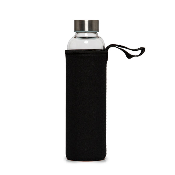 Recyclable Glass Drinking Bottle with Black Protection Sleeve - 550ml