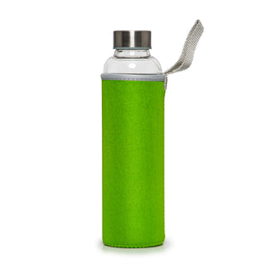 Recyclable Glass Drinking Bottle with Green Protection Sleeve - 550ml