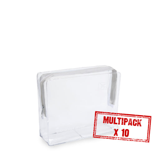 Multipack Small Clear Cosmetic Travel Bag - White Zip x 10