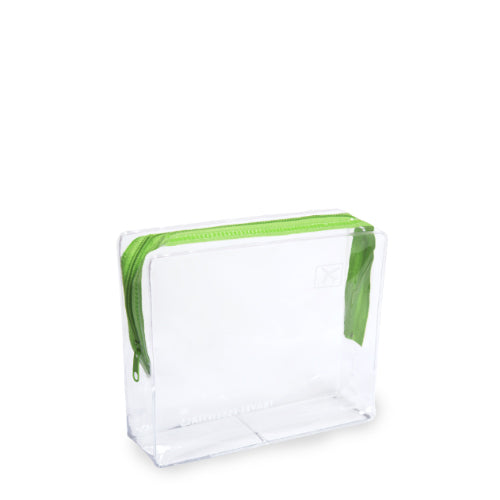 Small Clear Cosmetic Travel Bag - Green Zip