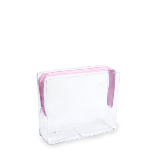 Small Clear Cosmetic Travel Bag - Pink Zip