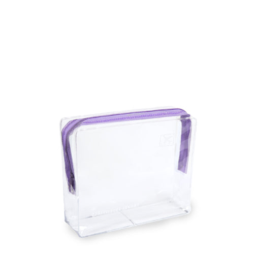 Small Clear Cosmetic Travel Bag - Purple Zip