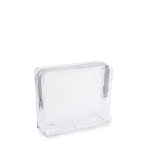 Small Clear Cosmetic Travel Bag - White Zip