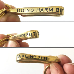 No Harm Hand-Engraved Keychain