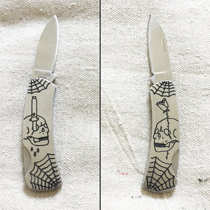 Double-Sided Hand Engraved Skull Knife