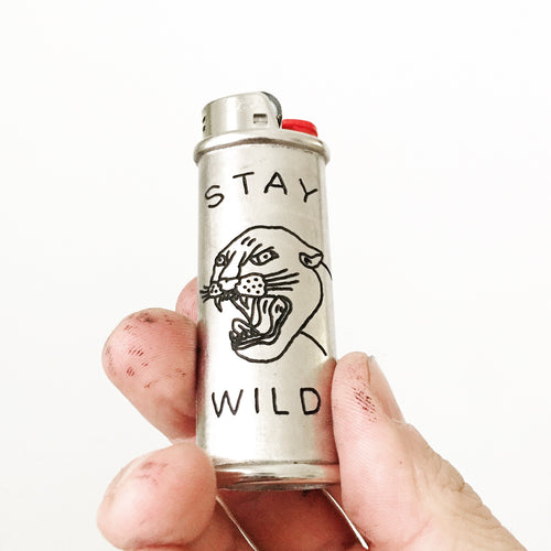 Stay Wild Hand-Engraved Lighter Sleeve