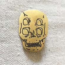 Load image into Gallery viewer, Four-Eyed Skull Hand-Engraved Lapel Pin