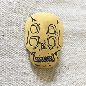 Four-Eyed Skull Hand-Engraved Lapel Pin