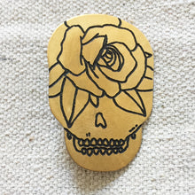 Load image into Gallery viewer, Rose Skull Hand-Engraved Lapel Pin