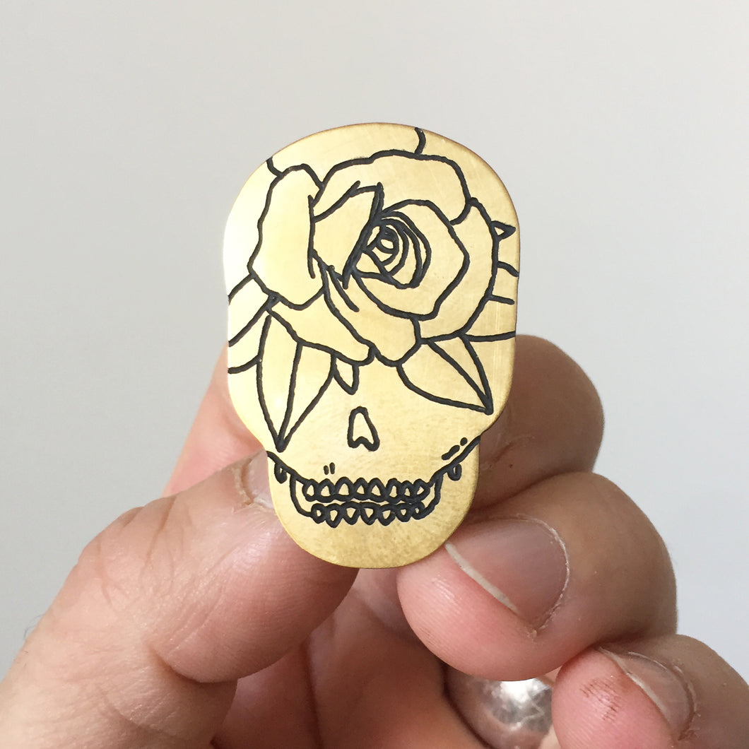 Rose Skull Hand-Engraved Lapel Pin