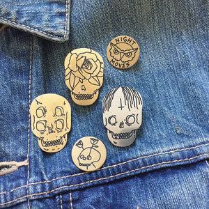 Dwight Skull Hand-Engraved Lapel Pin