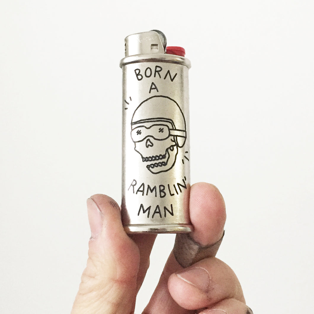 Ramblin' Man Hand-Engraved Lighter Sleeve
