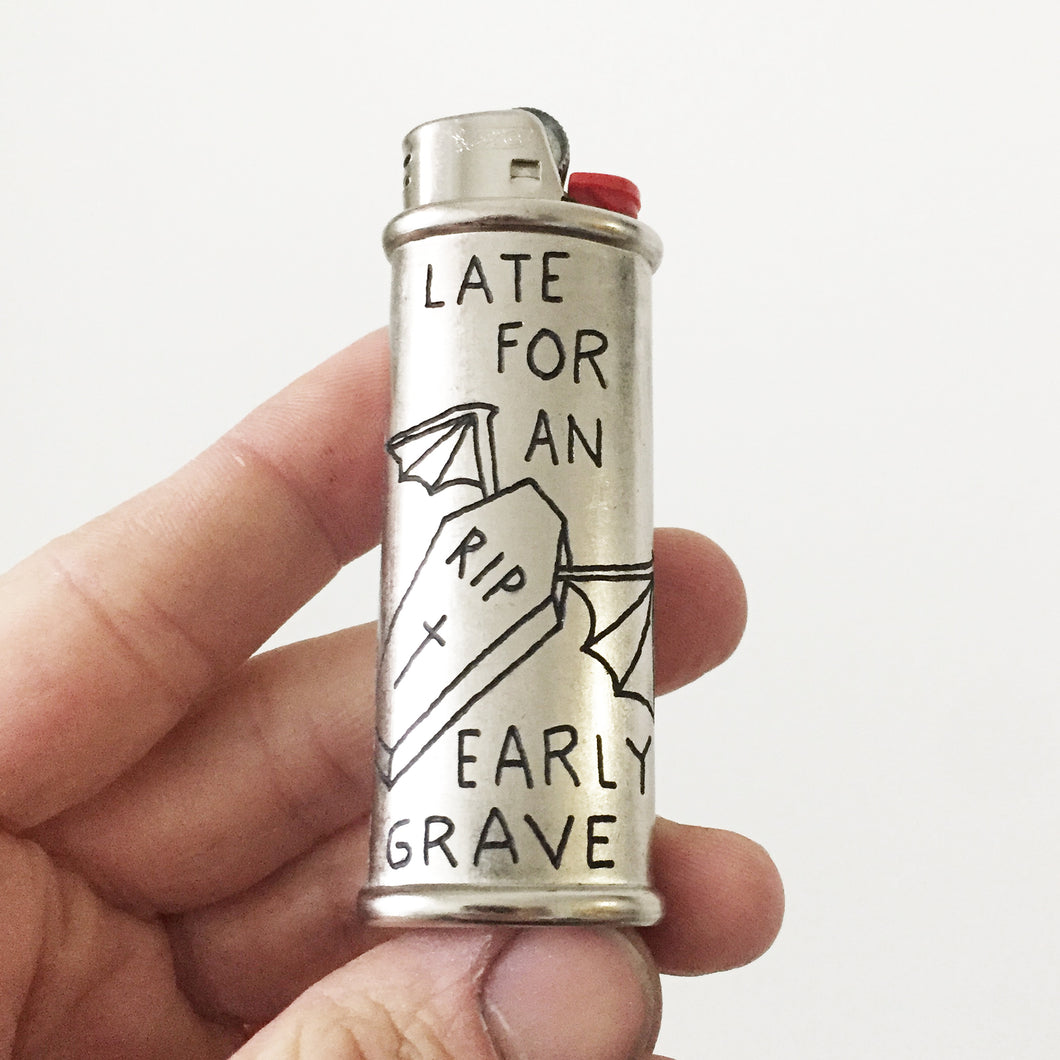 Early Grave Hand-Engraved Lighter Sleeve