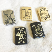 Load image into Gallery viewer, Stay Wild Hand-Engraved Zippo (Black)