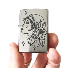 Load image into Gallery viewer, Gypsy Hand-Engraved Zippo (Chrome)