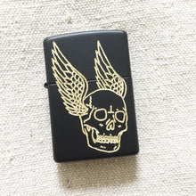 Load image into Gallery viewer, Flying Skull Hand-Engraved Zippo (Black)