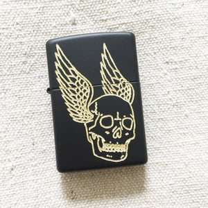 Flying Skull Hand-Engraved Zippo (Black)