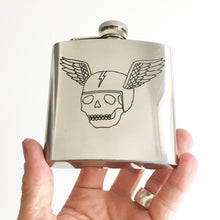 Load image into Gallery viewer, Flying Skull Engraved Flask (One of a Kind)