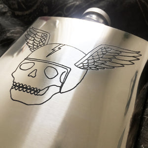 Flying Skull Engraved Flask (One of a Kind)