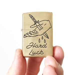 Hard Luck Hand-Engraved Zippo (One of a Kind)
