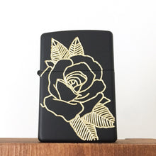 Load image into Gallery viewer, Black Rose Hand-Engraved Zippo (One of a Kind)
