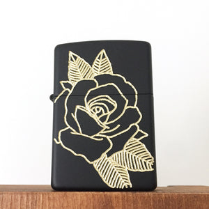 Black Rose Hand-Engraved Zippo (One of a Kind)