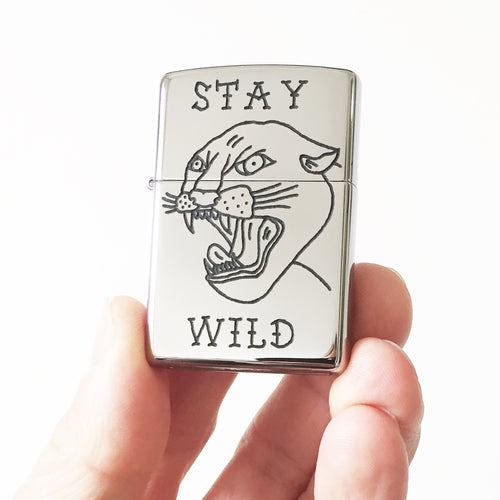 Stay Wild Hand-Engraved Zippo (Polished Chrome)