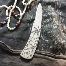 Load image into Gallery viewer, Party's Over Hand-Engraved Knife