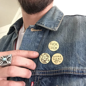 Fuck Luck Hand-Engraved Lapel Pin