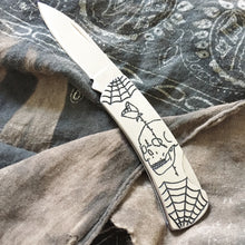 Load image into Gallery viewer, Double-Sided Hand Engraved Skull Knife