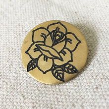 Load image into Gallery viewer, Rose Hand-Engraved Lapel Pin